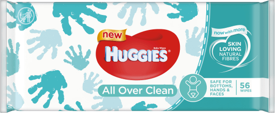 Huggies® All Over Clean Wipes product packaging.