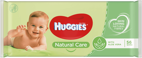 Huggies® Natural Care Wipes product packaging.