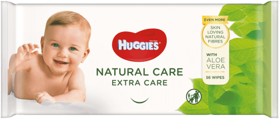 Huggies® Natural Care Extra Care Wipes product packaging.