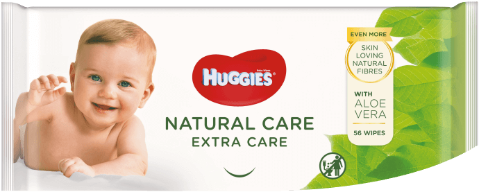 Huggies® Natural Care Extra Care product packaging.