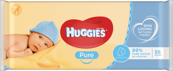 Huggies® Pure Wipes product packaging.
