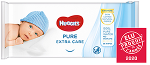 Huggies<sup>®</sup> Pure Extra Care Wipes product packaging.