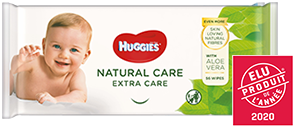 Huggies<sup>®</sup> Natural Care Extra Care Wipes product packaging.